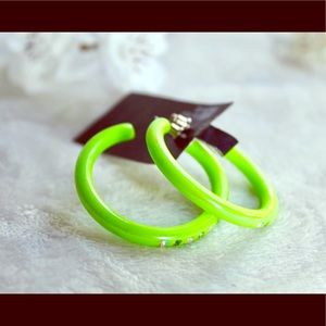 NWT Lime Green Hoop Earrings